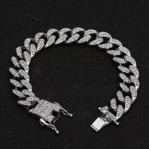 New cuban Bracelet Silver Rhinestone CZ Clasp
